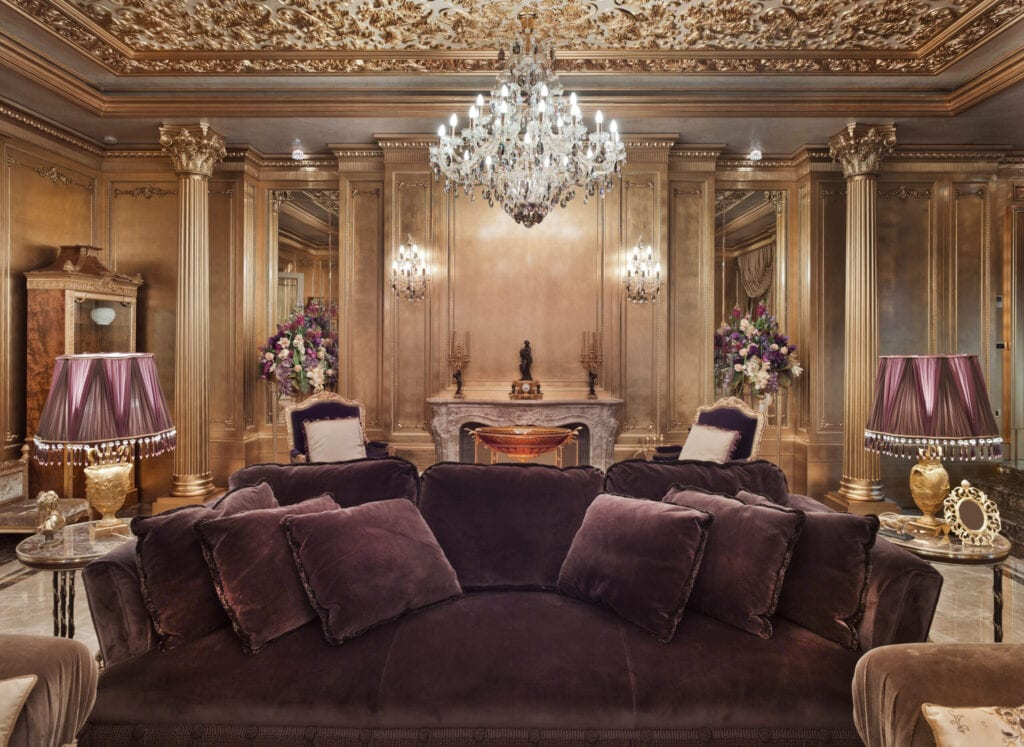 olden luxurious mansion in the moscow area; luxury golden interior; rich lifestyle