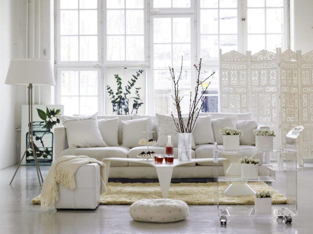 all white Scandinavian living room