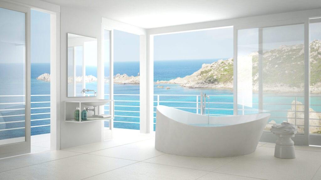 Bathroom overlooking ocean