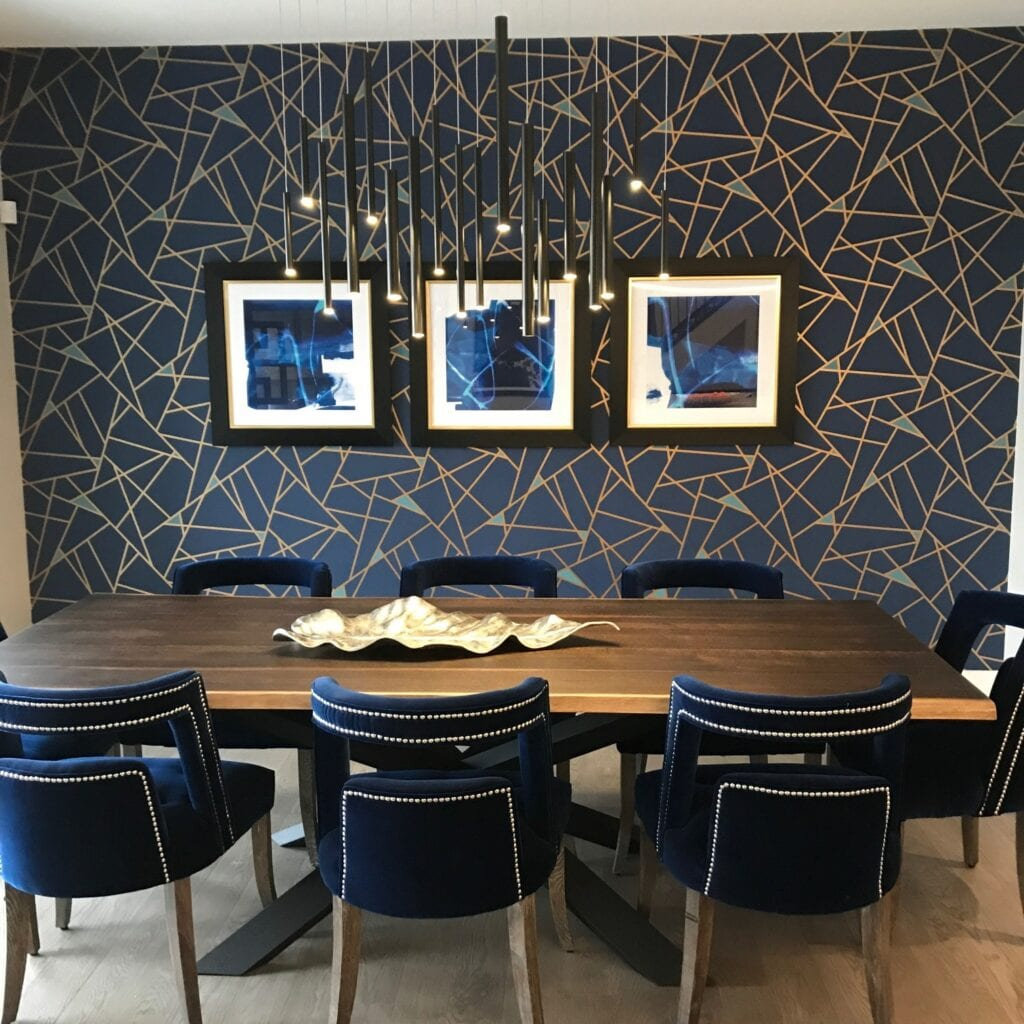 graphic wallpaper in dining room