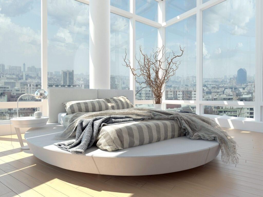 Bedroom with floor to ceiling