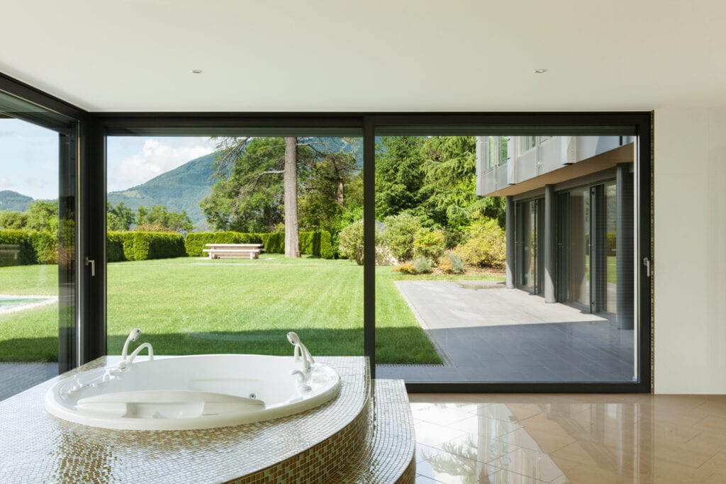 Floor to ceiling window to garden