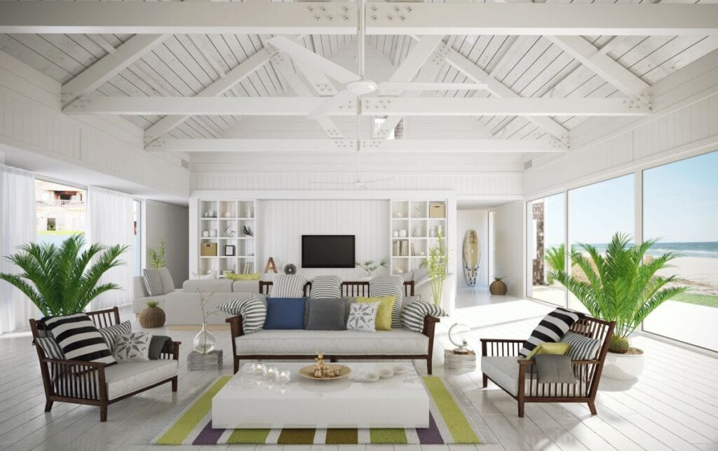 Modern beach house living room with open floorplan