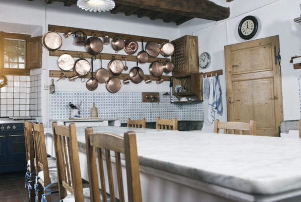 Italy, Tuscany, Magliano, View of kitchen with dining table