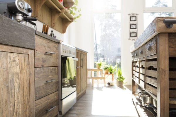 Country style kitchen in sunlight
