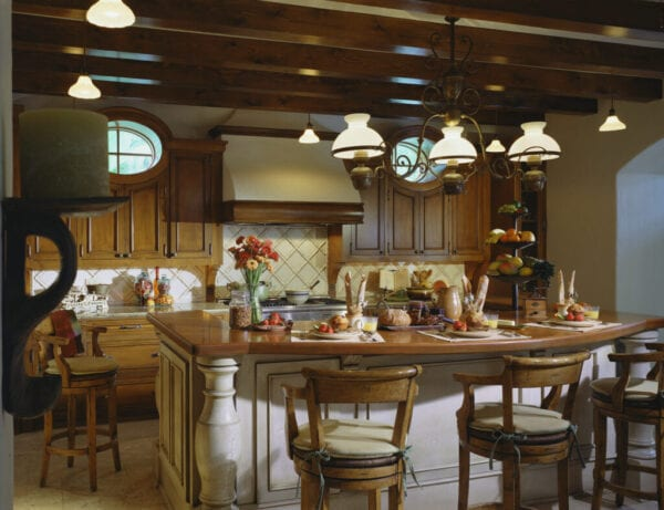 Wood Beam Ceiling in Traditional Kitchen