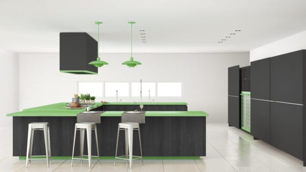 Minimalistic gray kitchen with wooden and green details, minimal