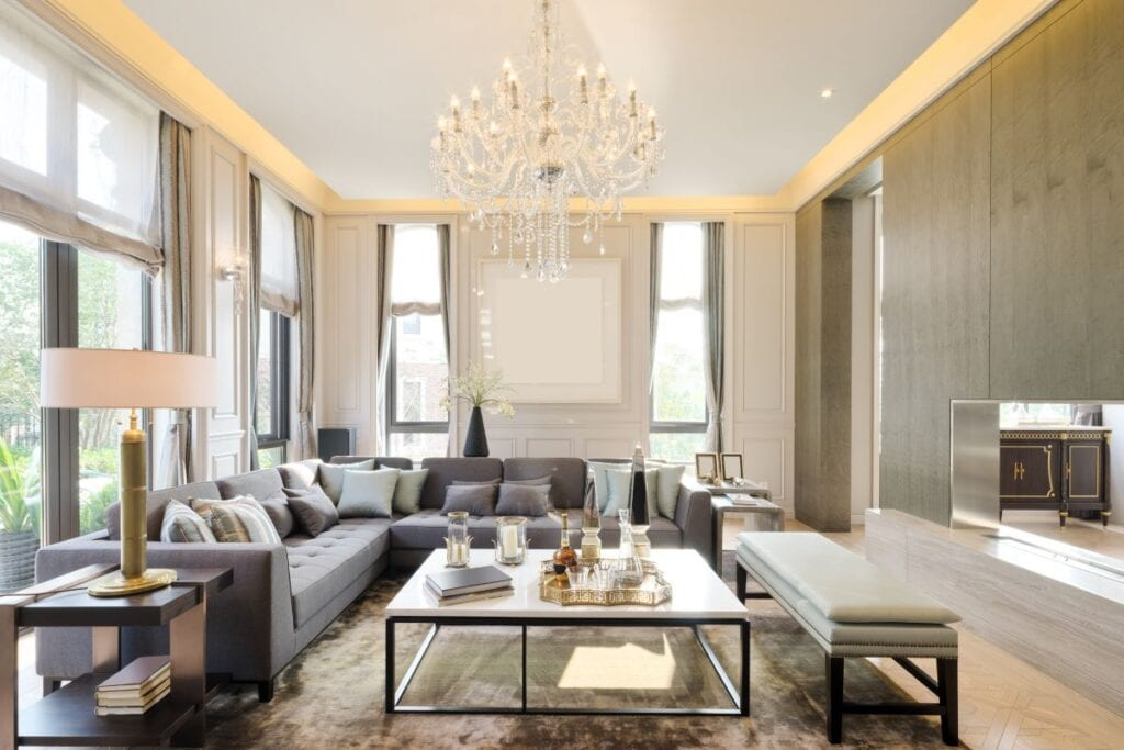 Luxurious modern living room with chandelier