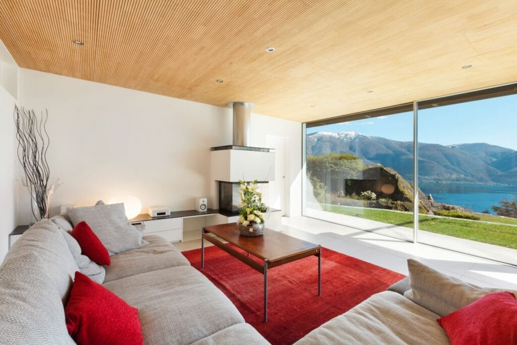 Living room with modern architecture and panoramic view of the mountains