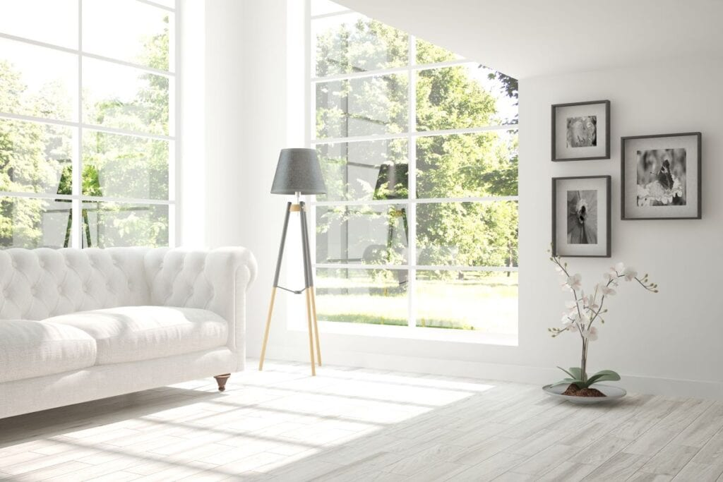White monochromatic living room in Scandinavian style