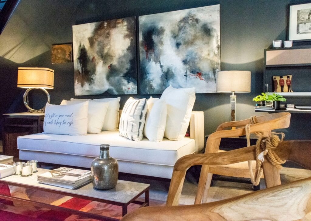 living room with nice art