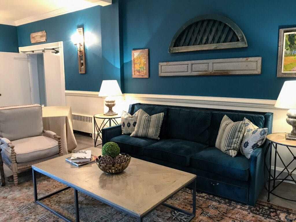 blue walled living room