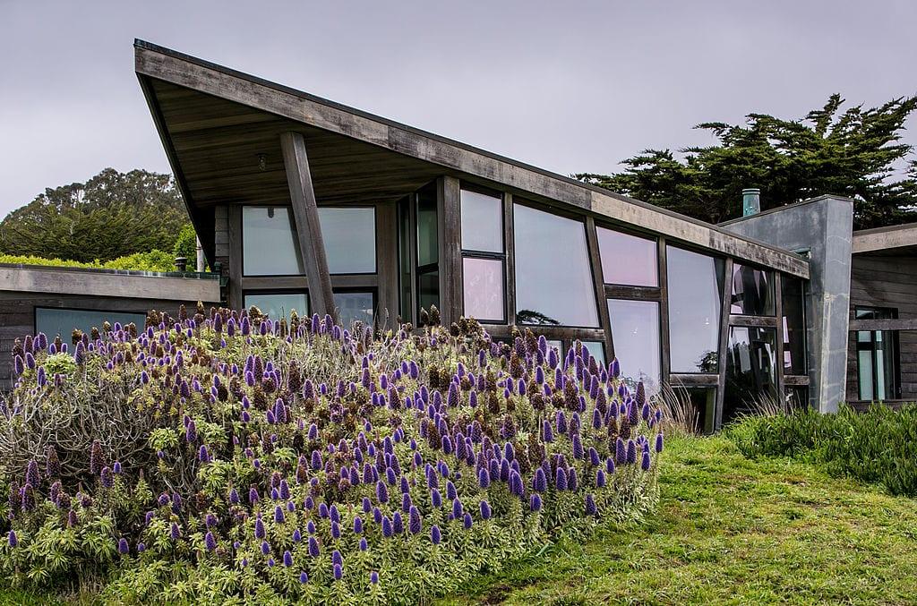 angled glass house exterior