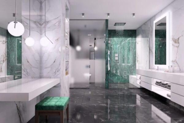Luxury bathroom interior with glass door