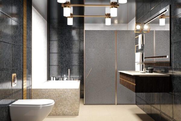 Kind of a modern interior of a bathroom 3D