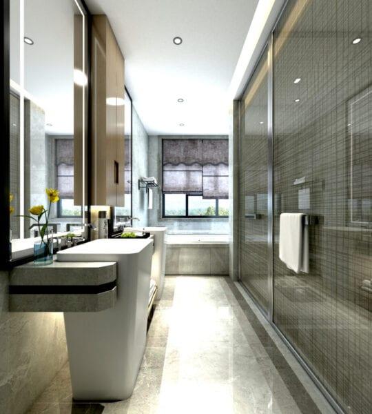 3d render. Luxury bathroom interior.