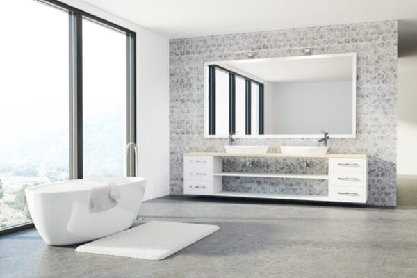 Concrete bathroom, white tub, sink, loft