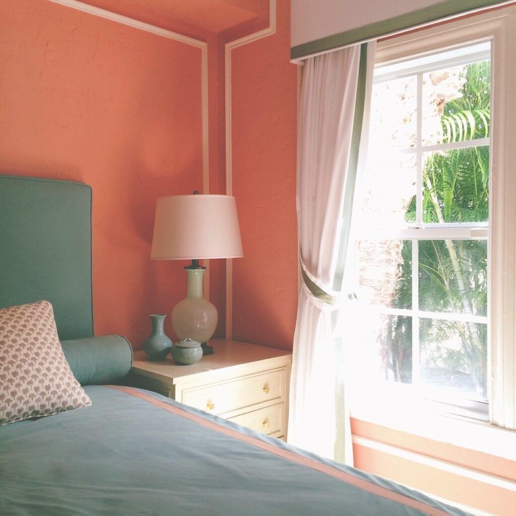Orange walled bedroom