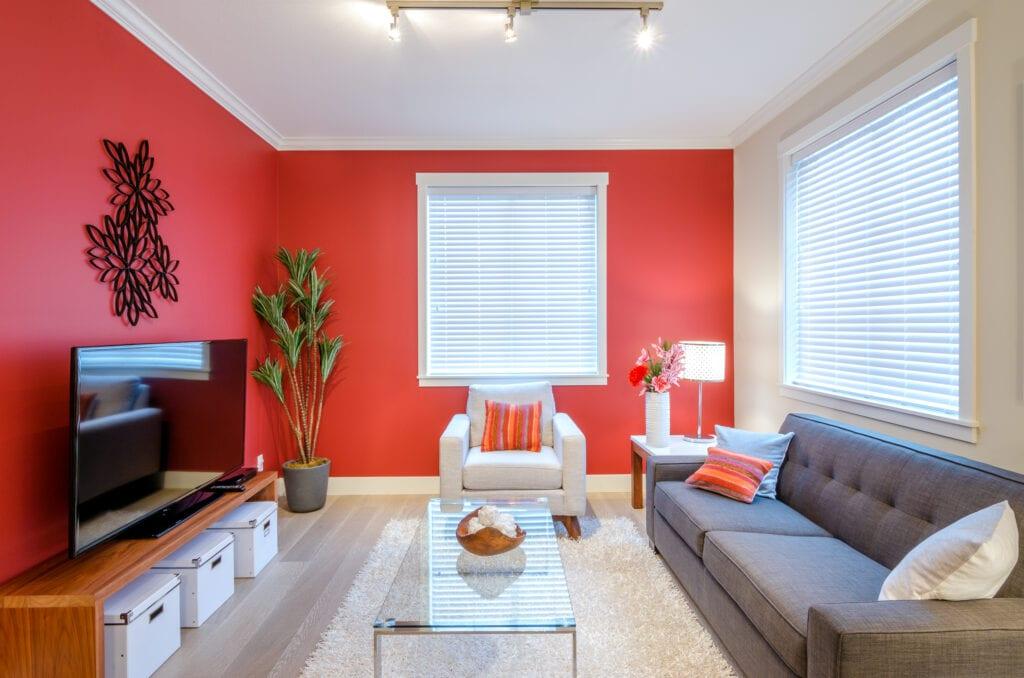 Modern red living room
