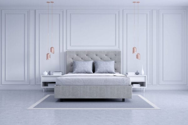 Modern And Classic Bedroom Interior Design, White And Gray Room Concept ,House Decoration Ideas.