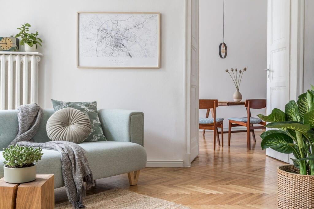 Modern scandinavian living room interior.Home decor. Interior design. Template. Ready to use.