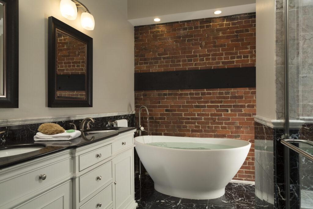 Bathtub and Shower in Luxury Bath, Sixteen Bay View Hotel, Camden, Maine, USA