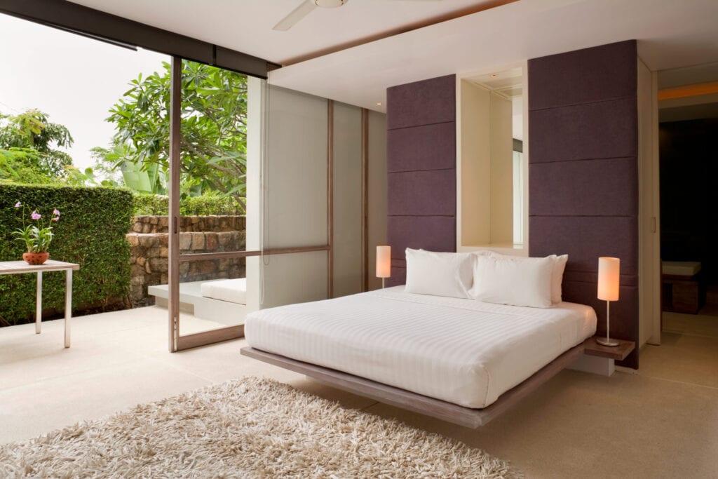 Modern Bedroom In A Villa In The Tropics.