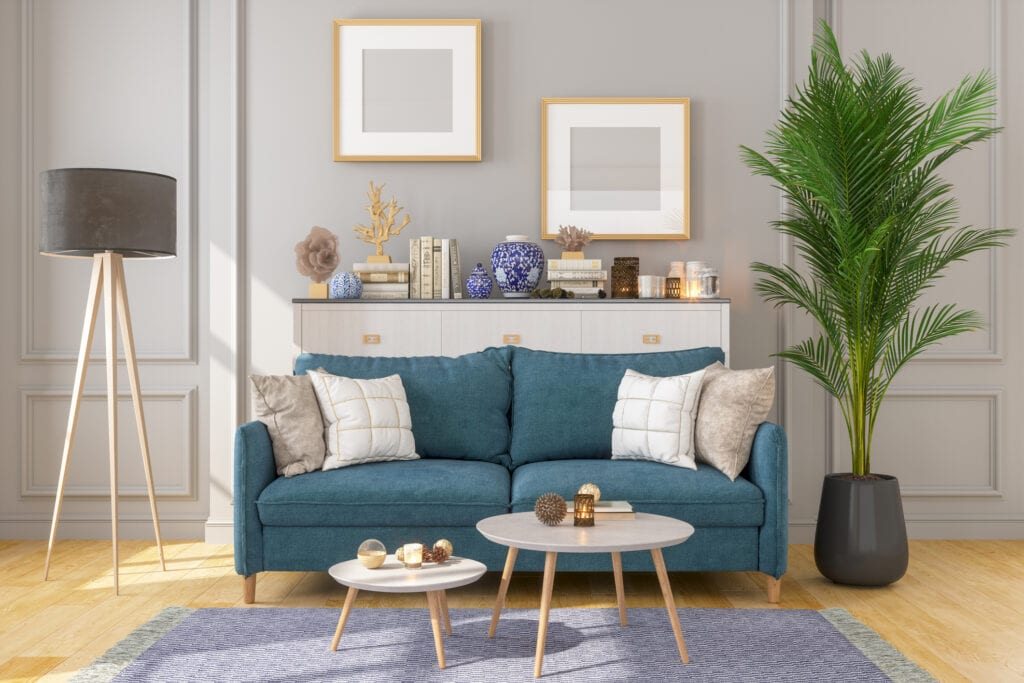 blue sofa with table