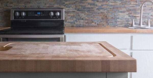Kitchen island with butcher block counter top