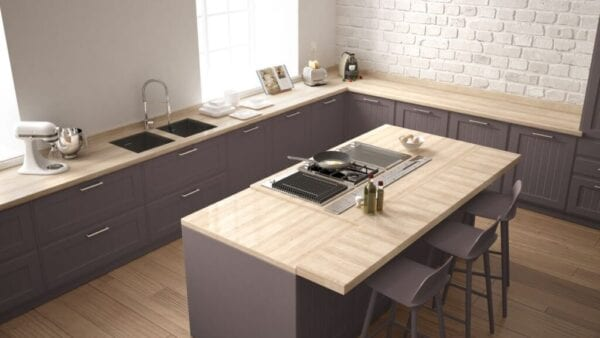 Classic kitchen with island that folds to expand