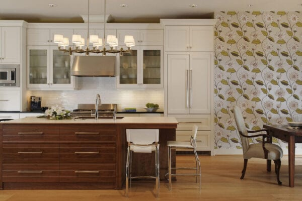 Wide shot of residential kitchen
