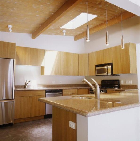 Minimalist Kitchen with Blond Wood