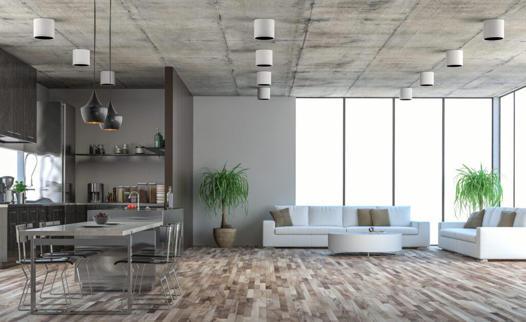 Modern industrial style living room with concrete ceiling and floor-to-ceiling windows