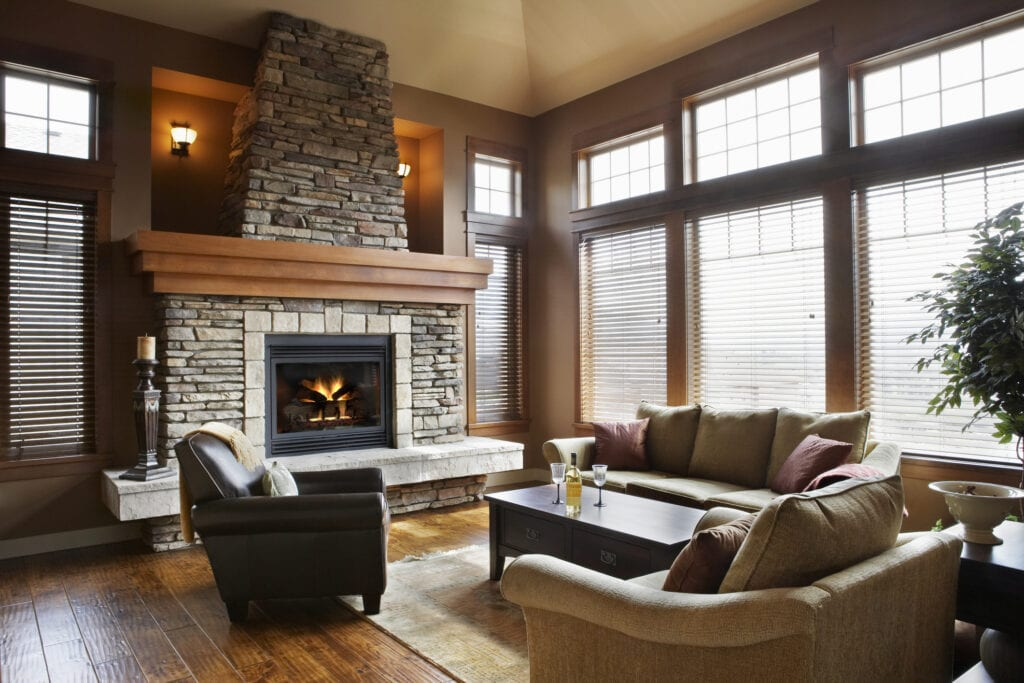 Living room with fireplace in contemporary home