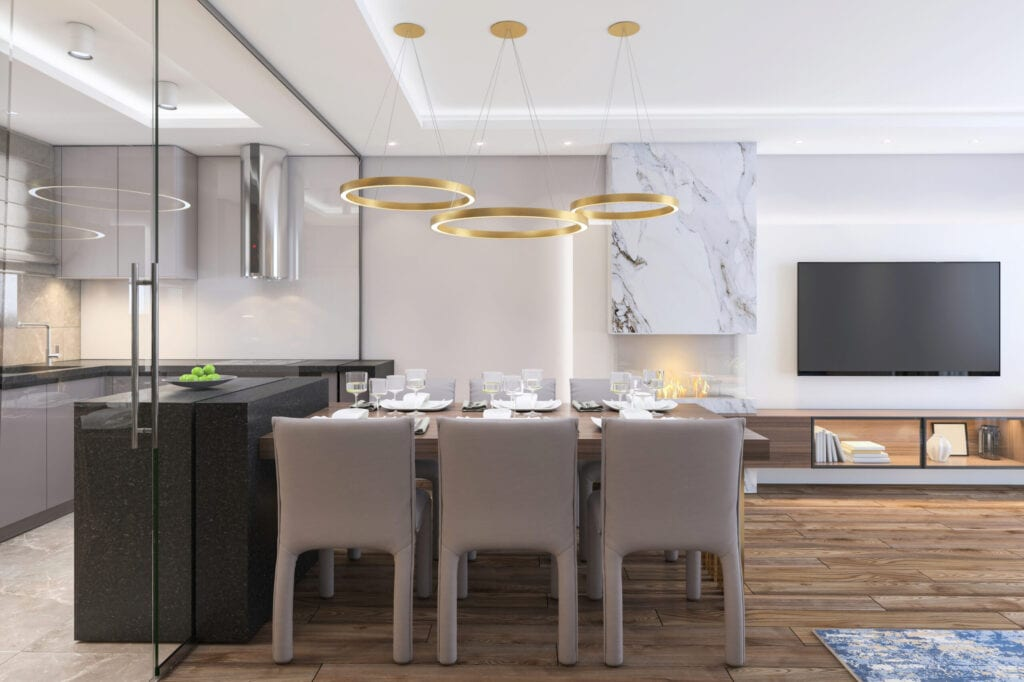 Luxury, furnished dining room interior with fireplace and isolated kitchen visible through glass wall. No people. Render