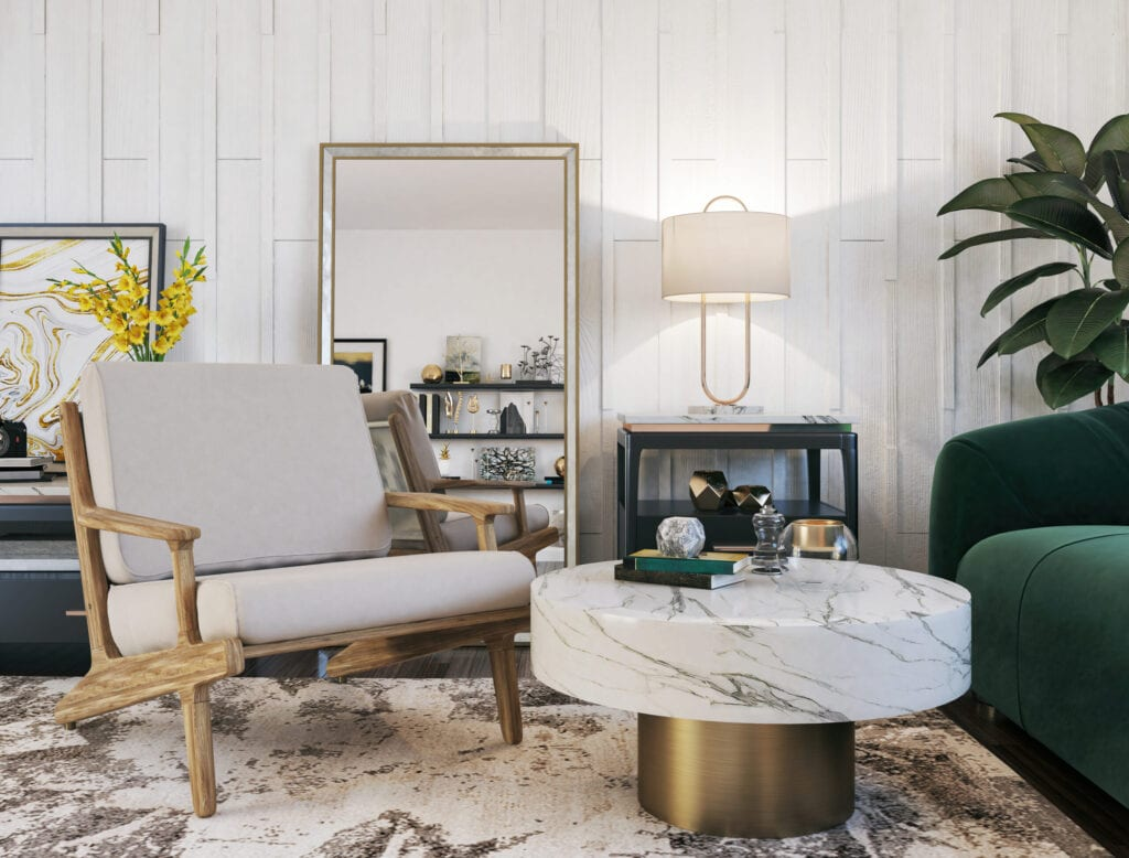 gold featured in living room