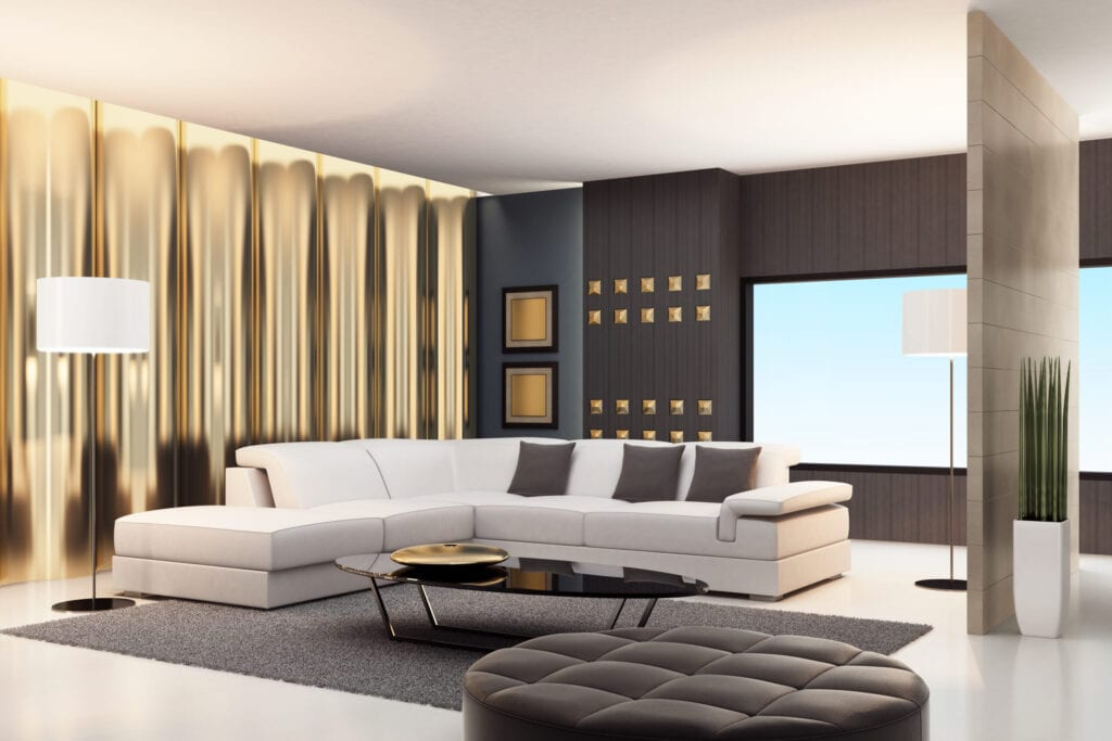 gold accented living room