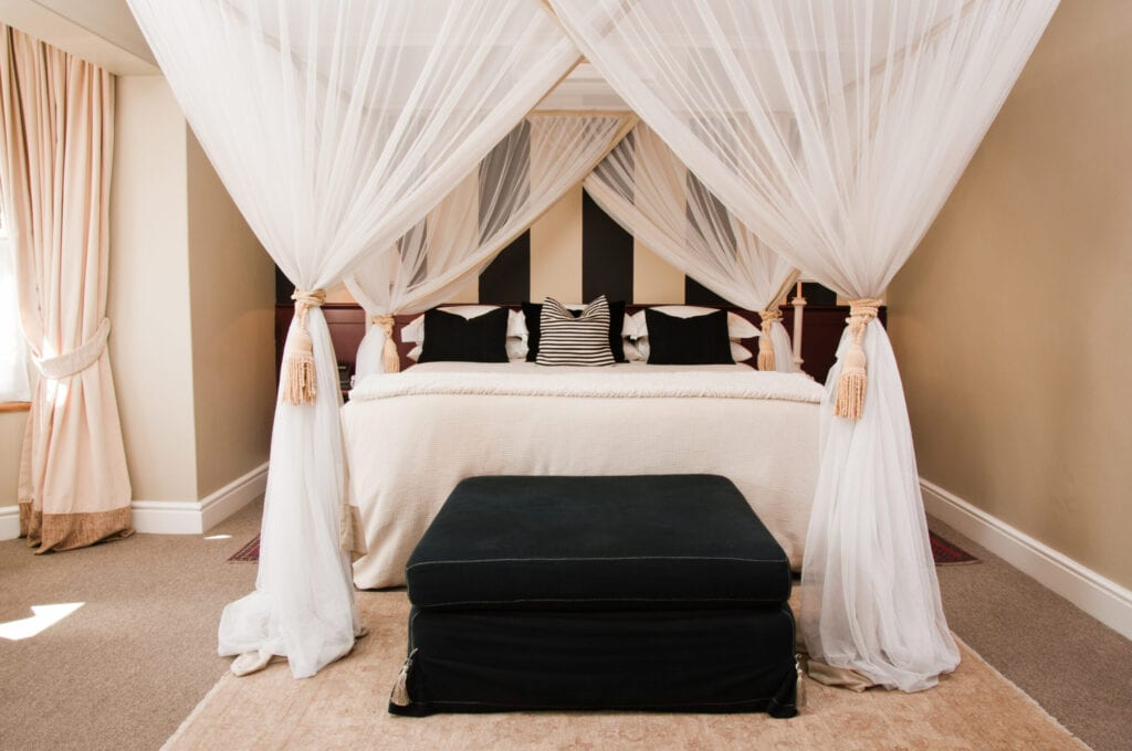 Stunning Bedrooms Flaunting Decorative, Queen Size Canopy Bed With Curtains