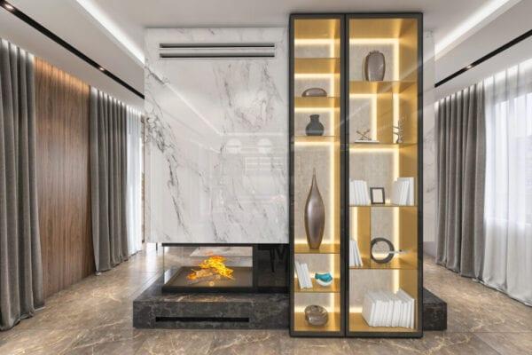 Modern villa fireplace