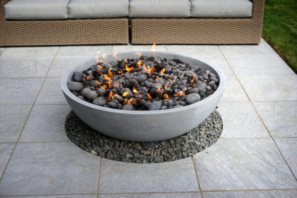 fire pit on patio with couch