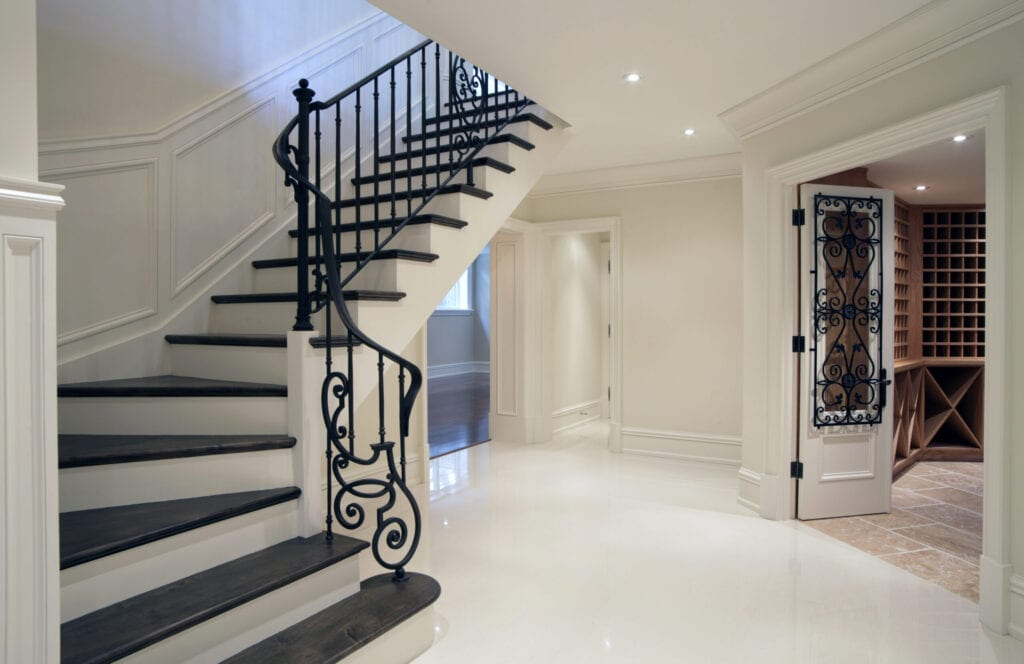 Hallway Interior of brand new mansion residence in North America.