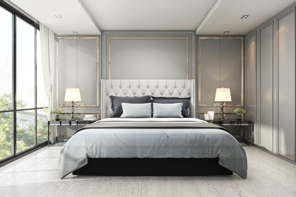 Transitional bedroom with modern classic design