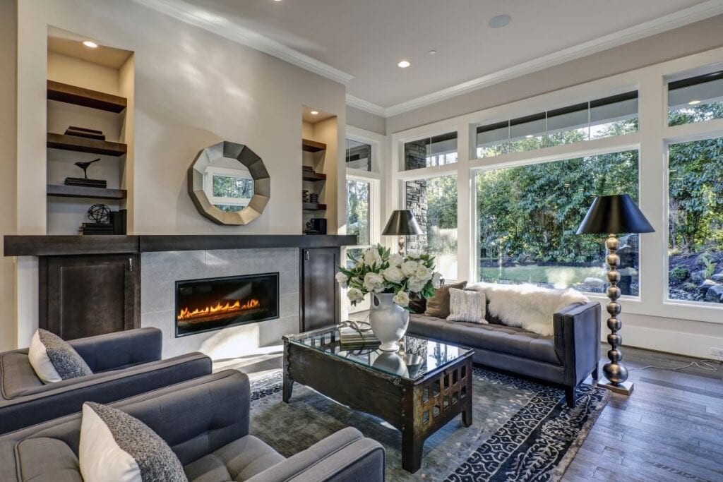 Transitional style living room, mix of classic and contemporary design