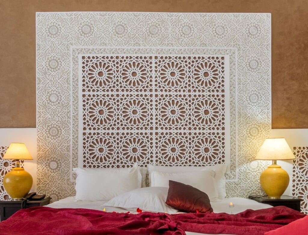 Luxury, art-based headboard in stunning hotel room