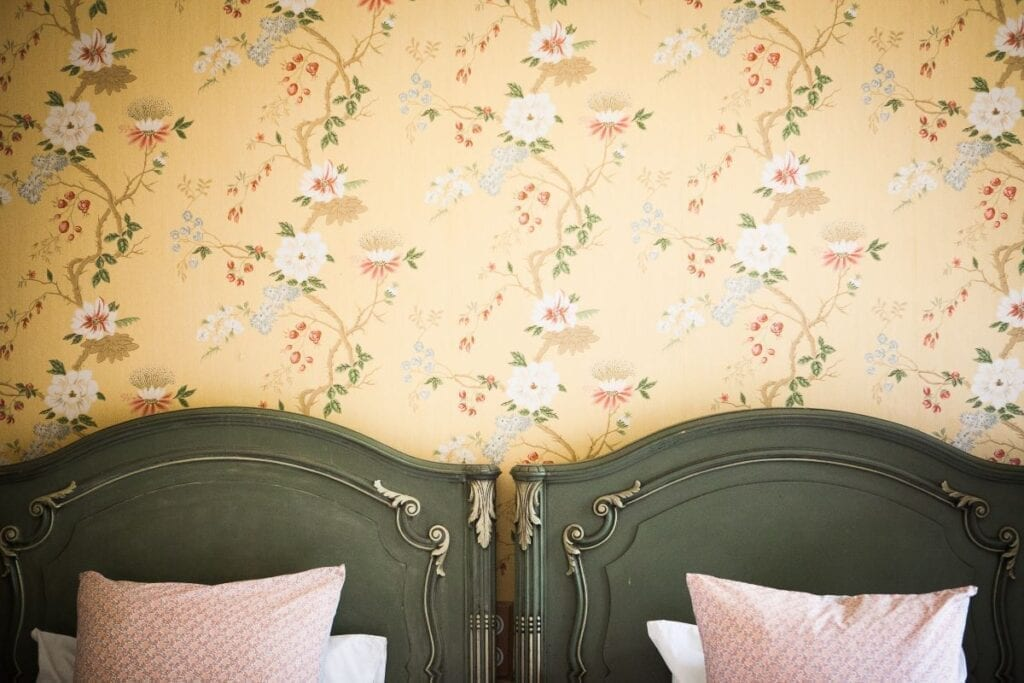 Shabby chic style bedroom with frame molding DIY headboards