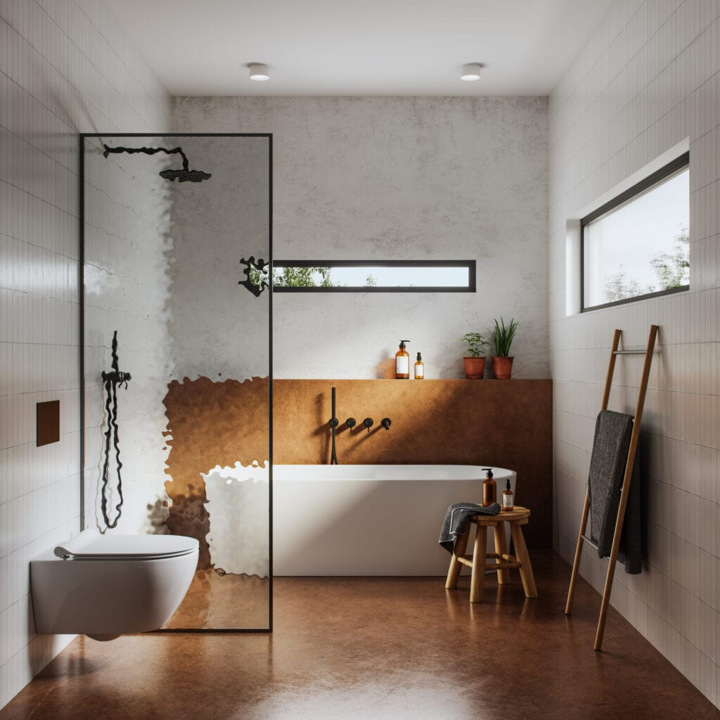 Computer generated image of a domestic bathroom interior with toilet and bathtub. Interior of bathroom in 3d.
