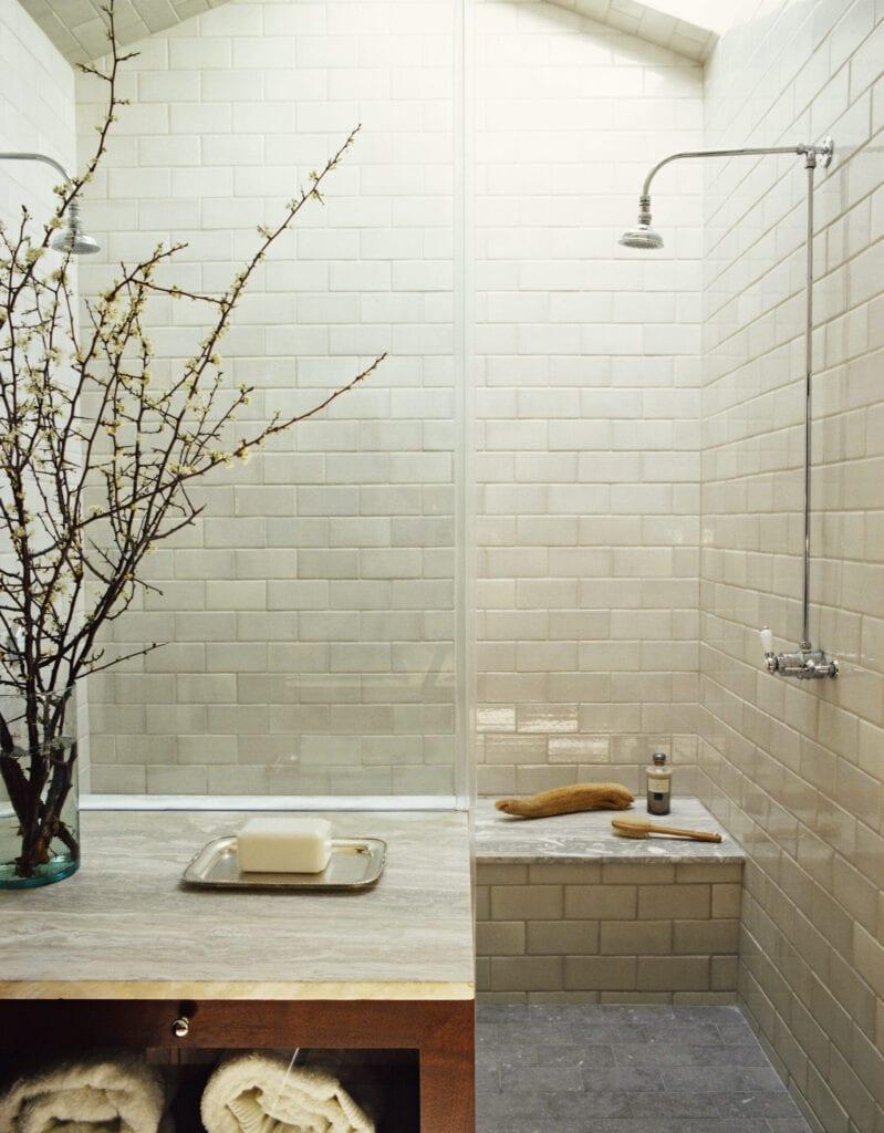 bench in shower