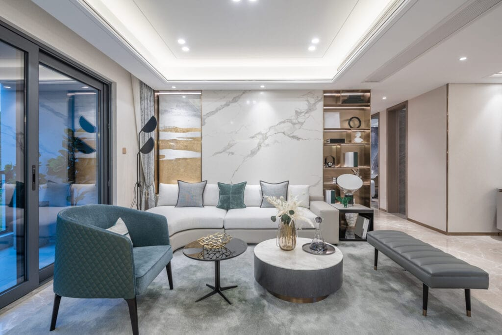 interior of luxury living room in luxury model house
