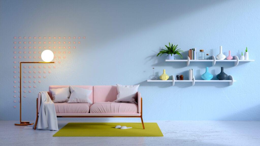 vintage living blue room and pink sofa .3d render