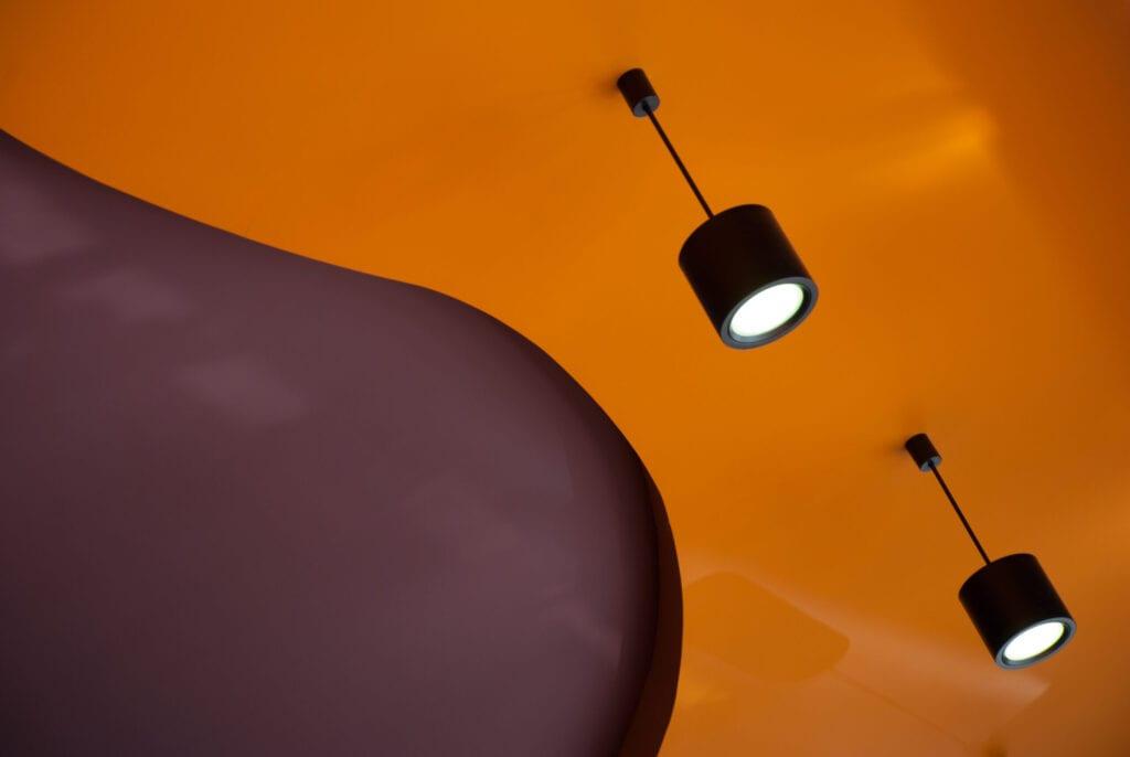 Orange & brown painted ceiling background.